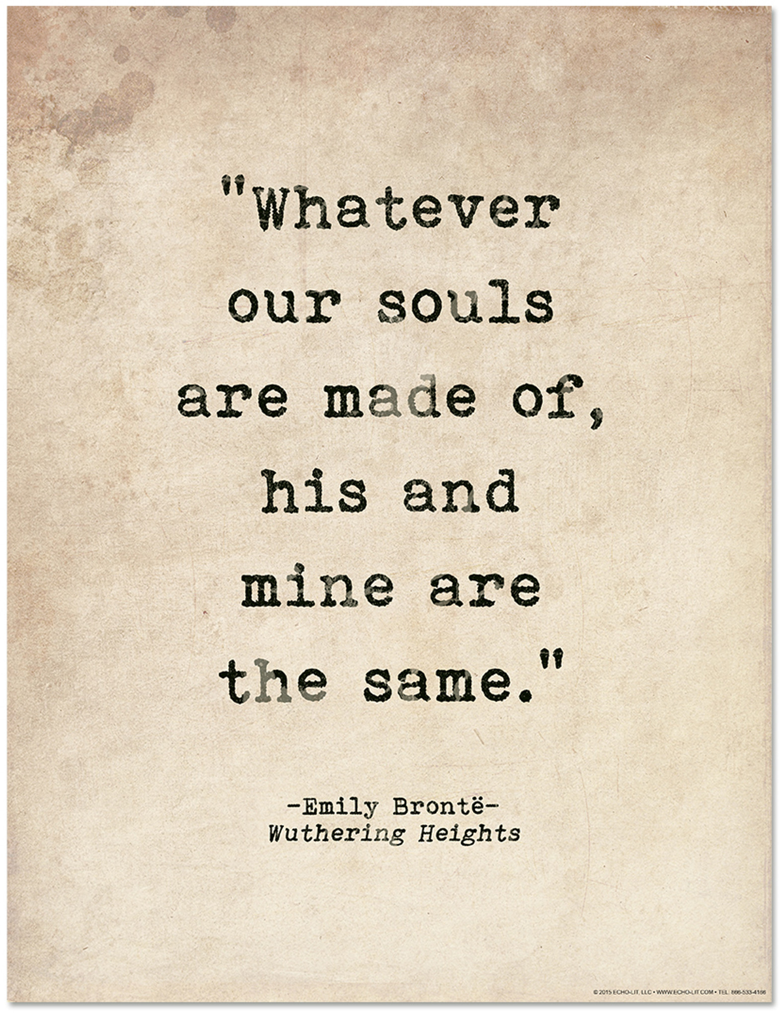 Romantic Quote Poster Wuthering Heights By Emily Bronte Literary