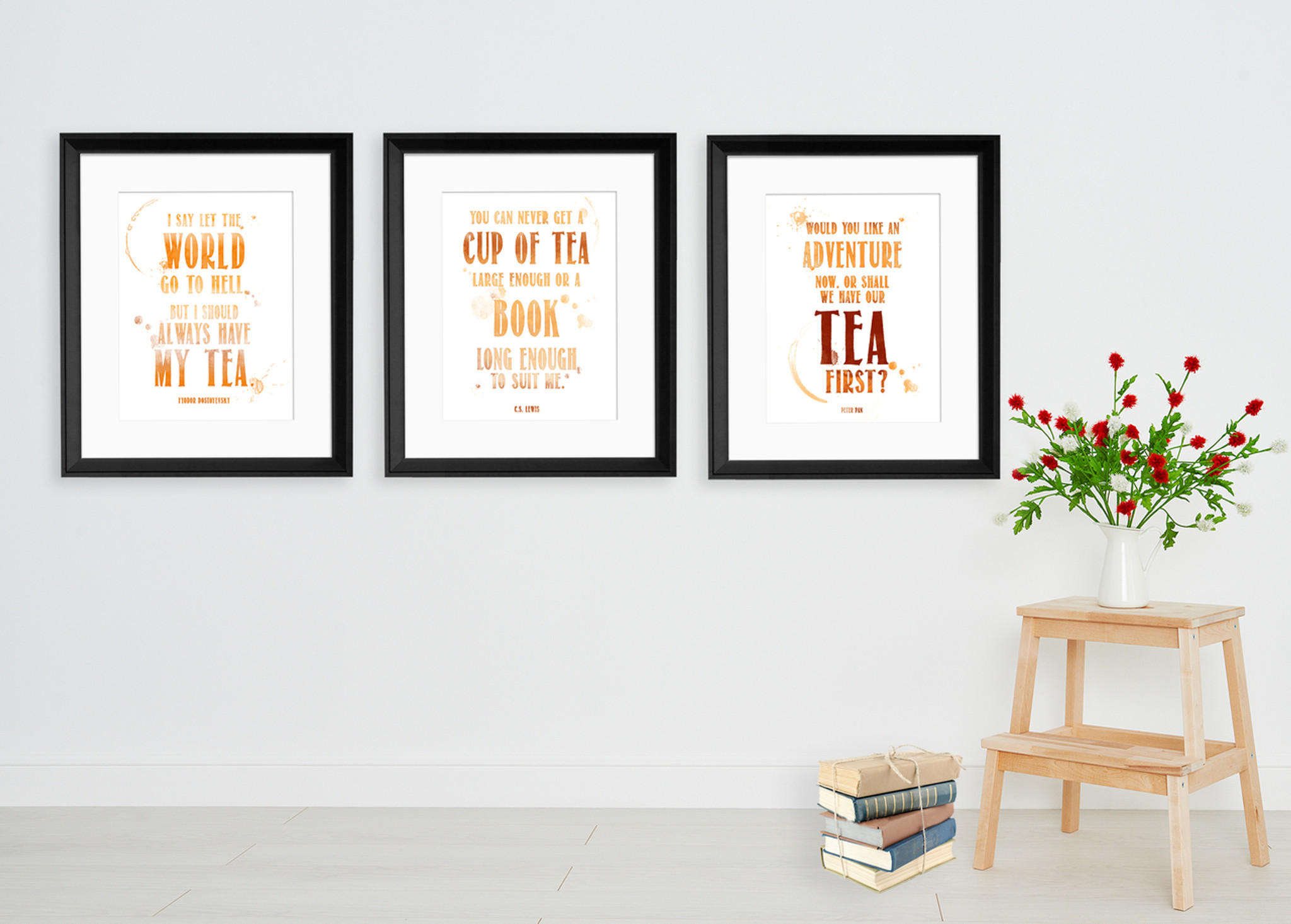 Quote Posters   Tea Quote Posters Typographic Art Prints Featuring Barrie Lewis