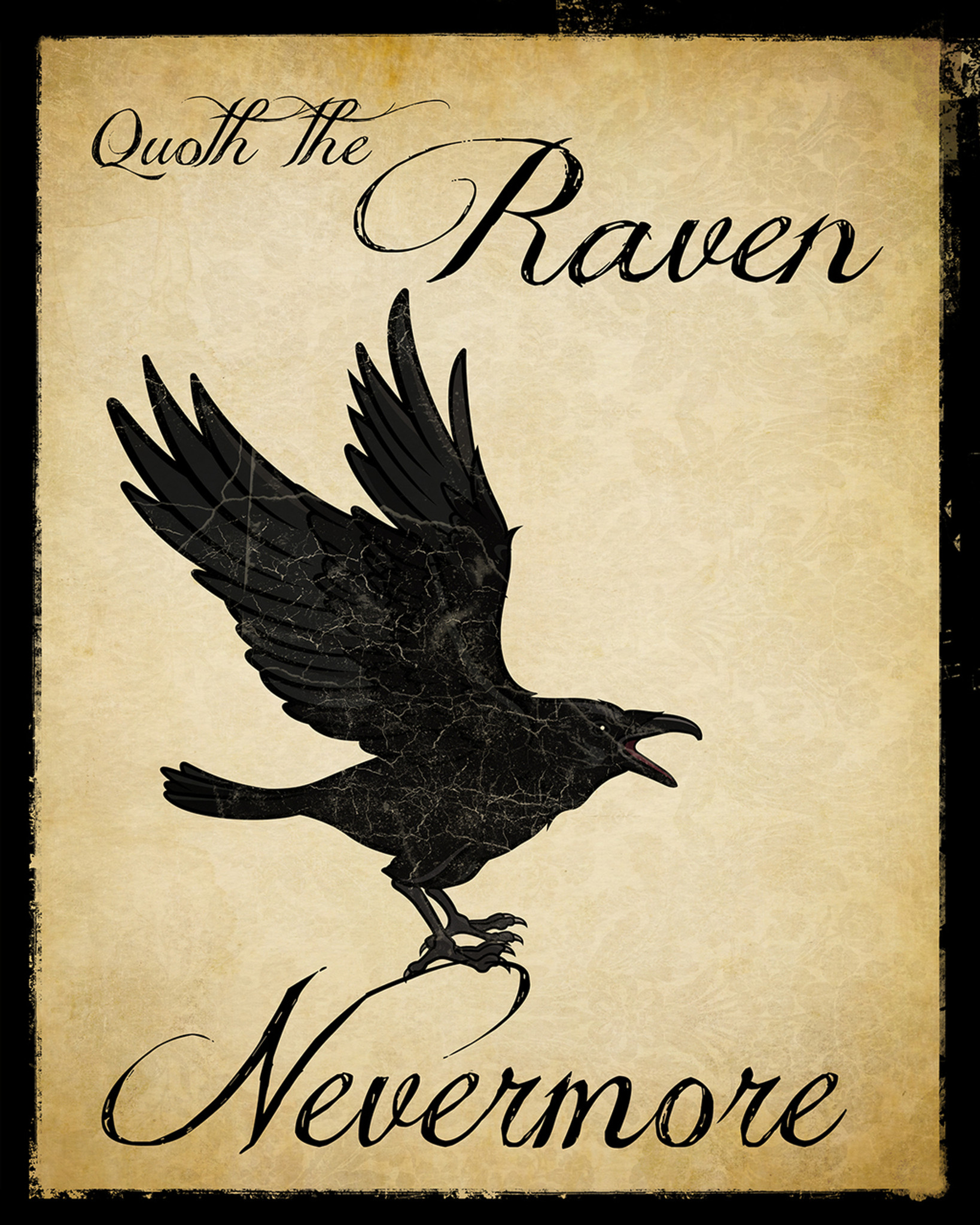 Nevermore Raven Literary Quote Print. Vintage Style Fine ...