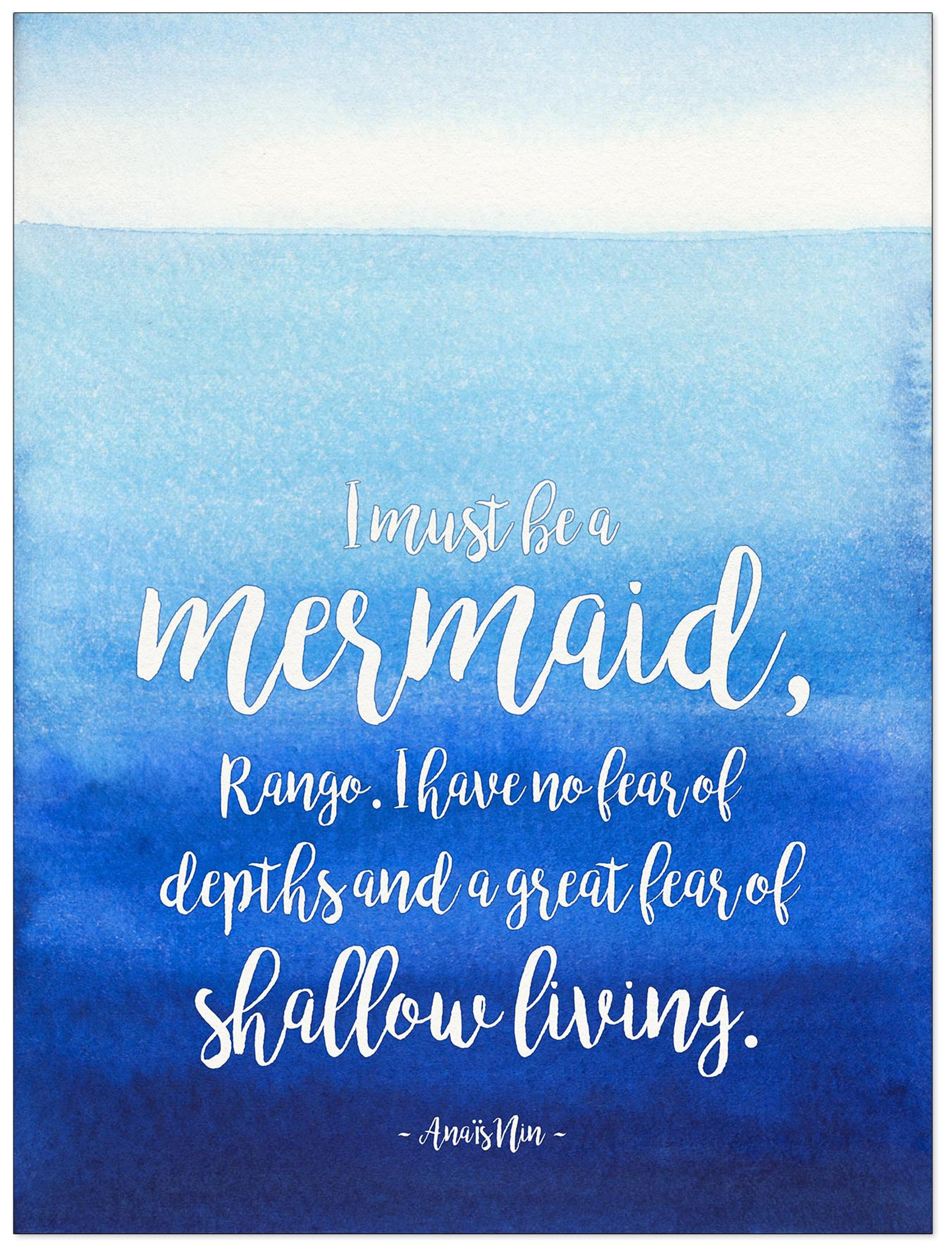 i must be a mermaid literary quote watercolor anais nin fine art