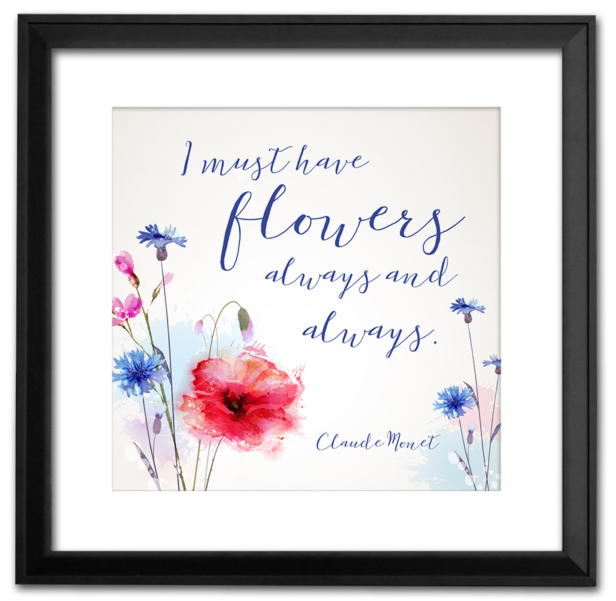 Round Wood Sign with Beaded Frame Flower Spring Decorations I must have flowers always and always Claude Monet Quote Country Decor