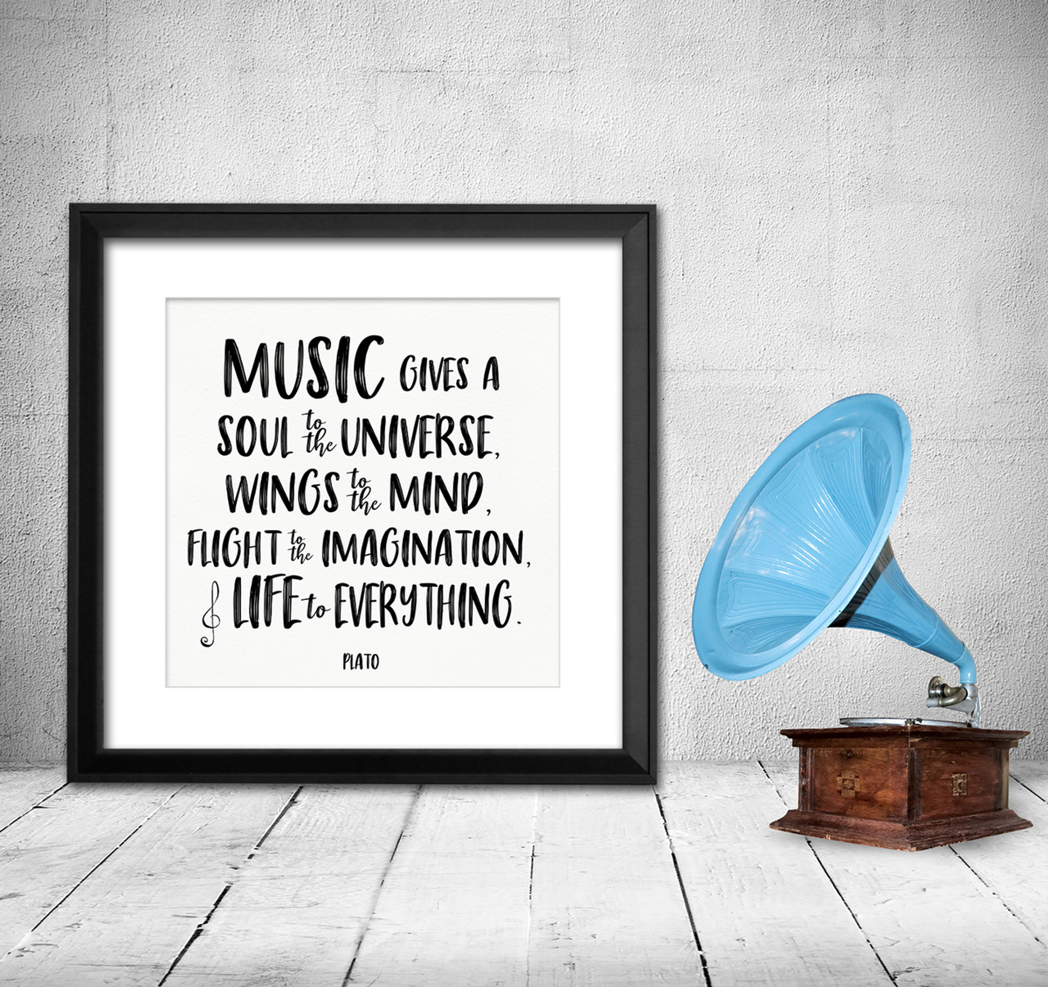 c648b79803 Music Gives a Soul to the Universe Plato Quote Art Print. Musical Literary  Quote Print