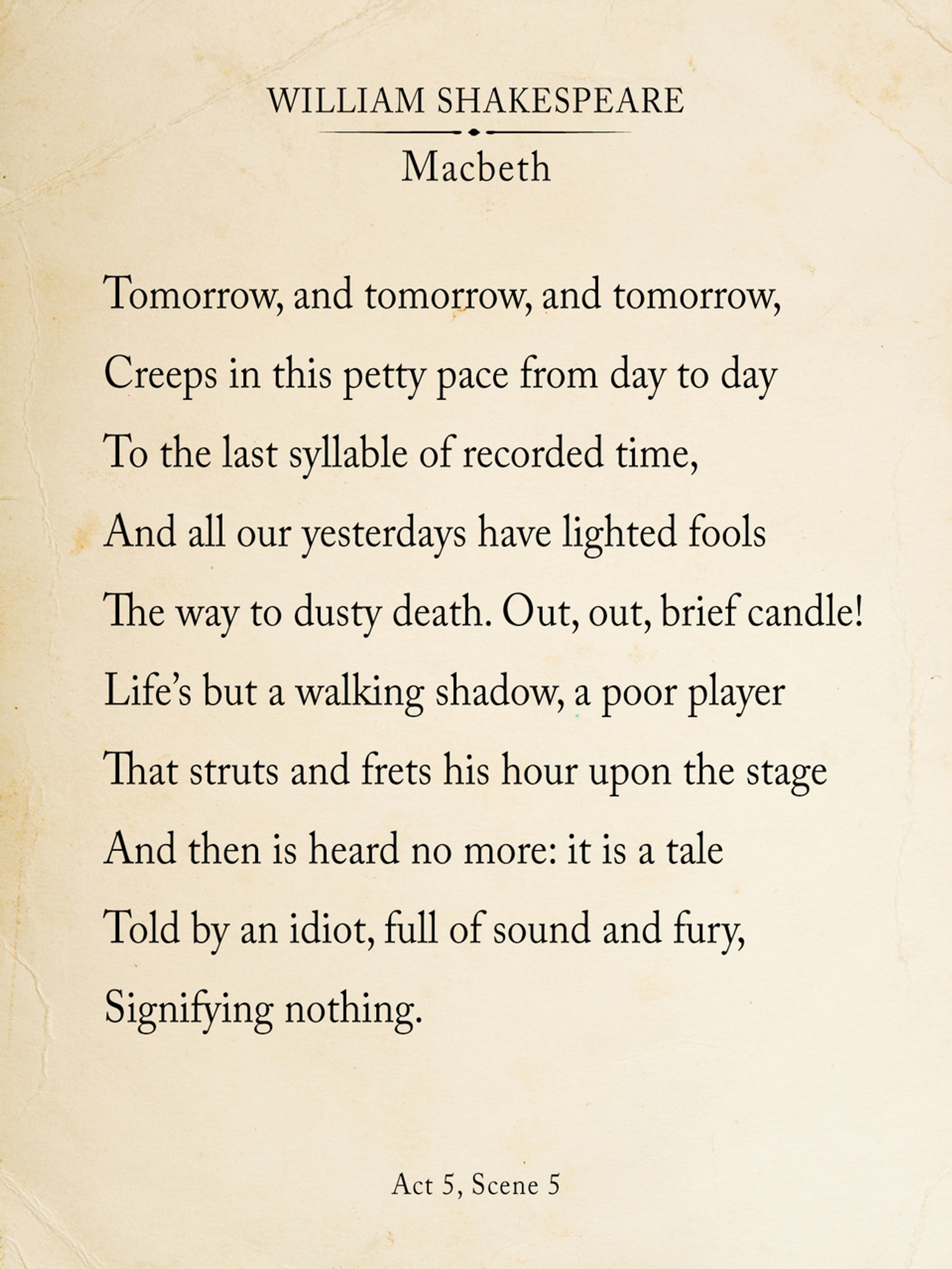 Macbeth Out Brief Candle Shakespeare Book Page Style Literary Quote Print Fine Art Paper Laminated Or Framed Multiple Size Echo Lit Tomorrow Soliloquy Analysis Analysi