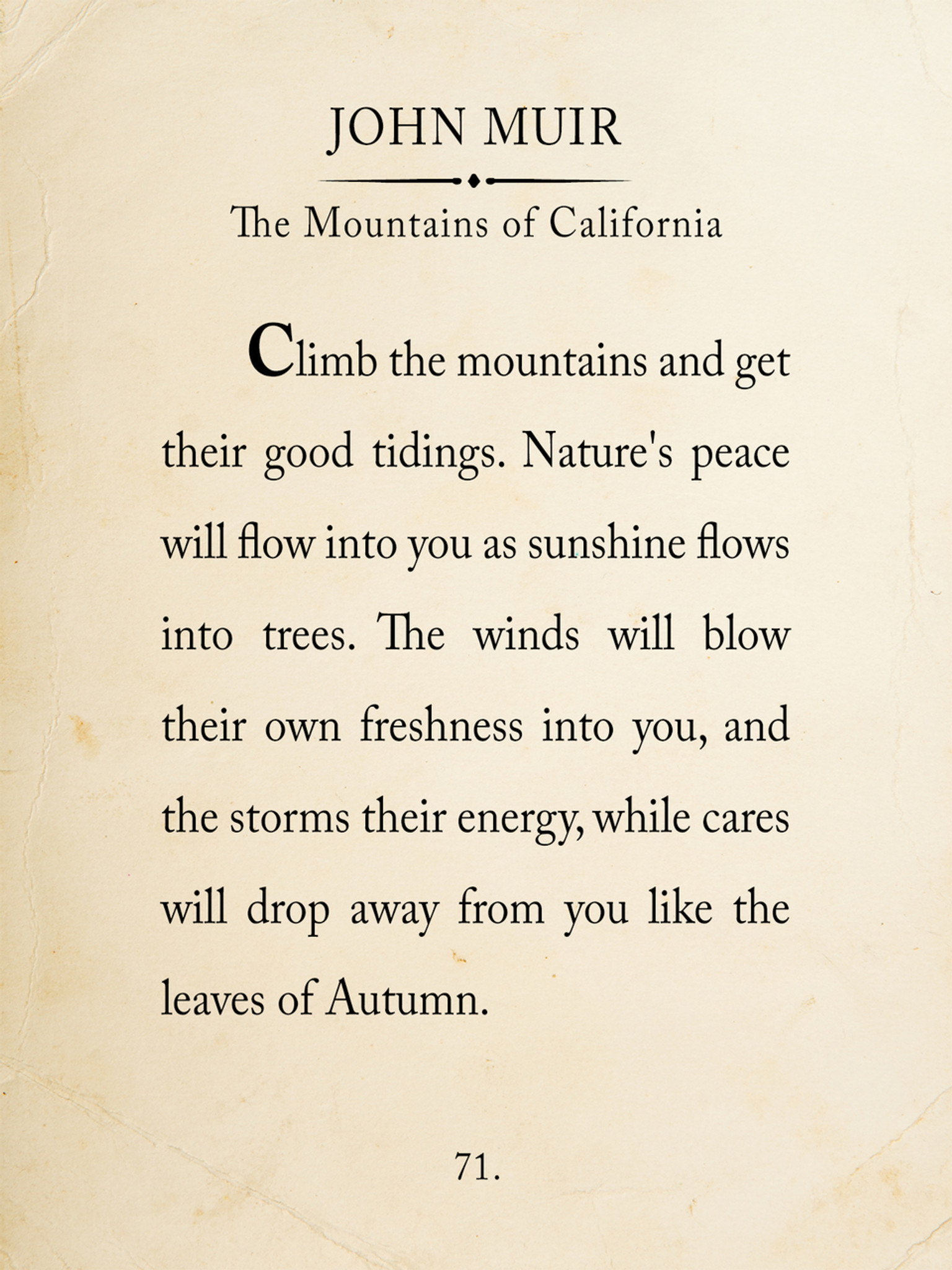 John Muir Mountain Book Page Style Literary Quote Print Fine Art