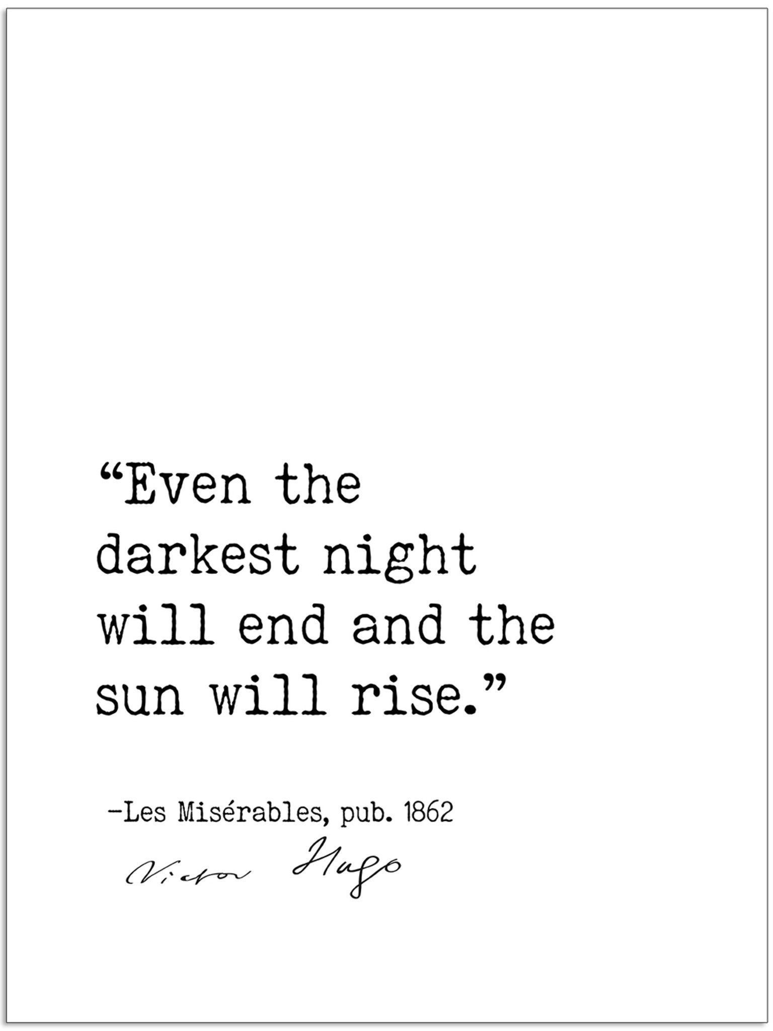 Even The Darkest Night Will End And The Sun Will Rise Victor Hugo