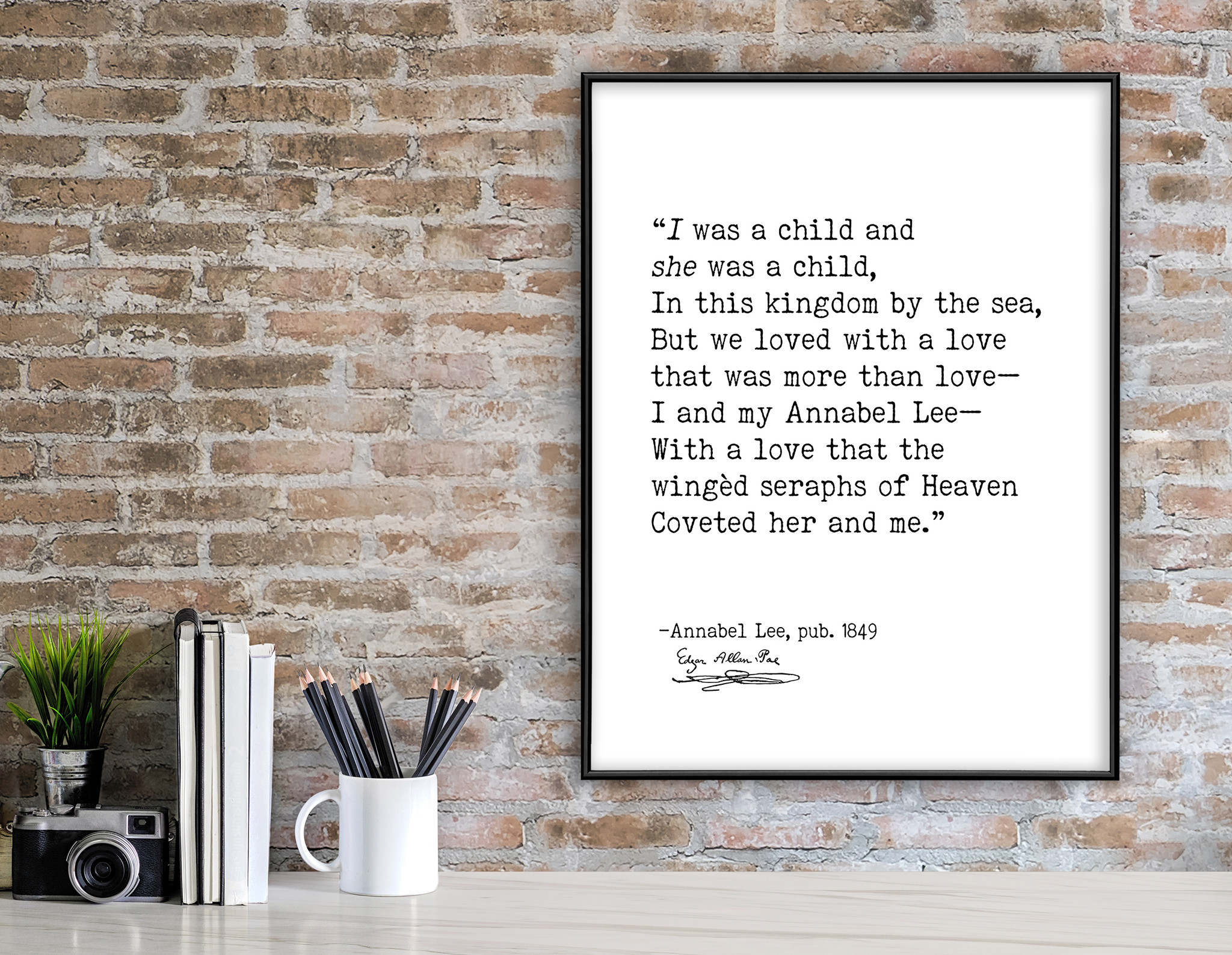 Edgar Allan Poe Annabel Lee I Was A Child Author Signature Literary Quote Print Fine Art Paper Laminated Or Framed Echo Lit