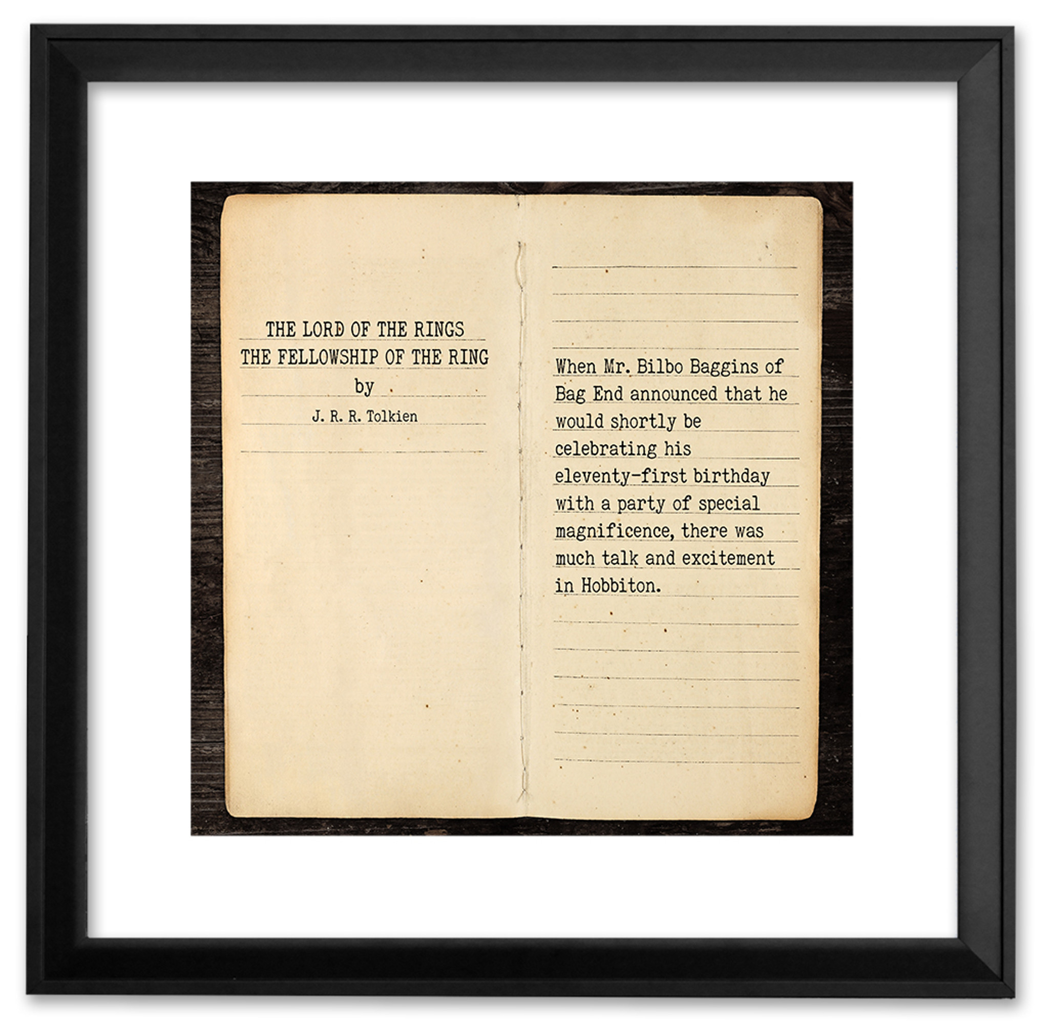 The Lord Of The Rings J R R Tolkien Opening Line Children S Literary Quote Print Fine Art Paper Laminated Or Framed Multiple Sizes Available For Home Office Or School Echo Lit