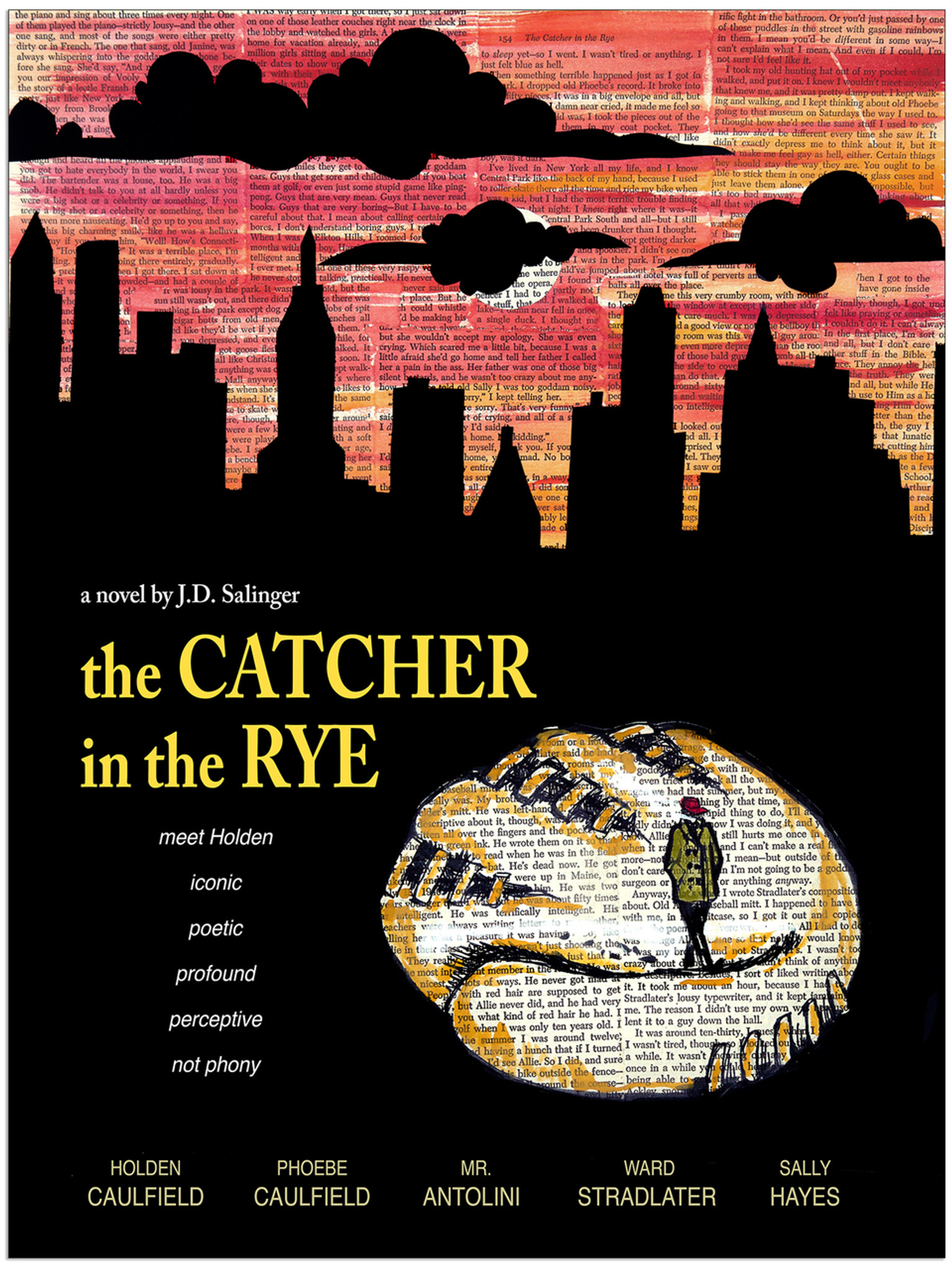 The Catcher In The Rye Jd Salinger Classic Novel Fine Art Print For Home Office Library Or Classroom