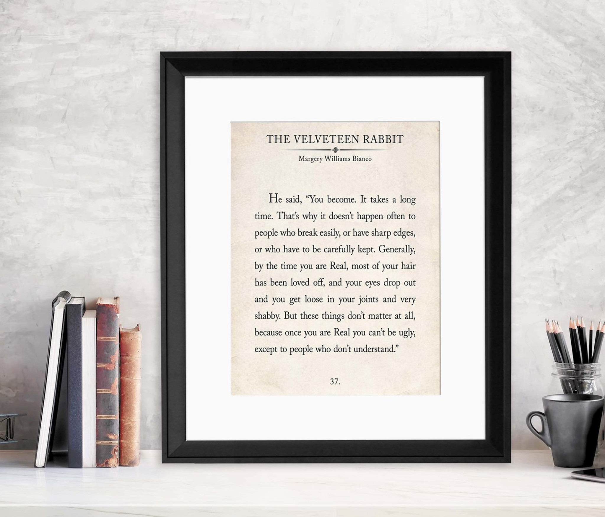 The Velveteen Rabbit Vintage Book Page Literary Quote Print. Fine Art  Paper, Laminated, or Framed. Multiple Sizes for Home, Office, or School