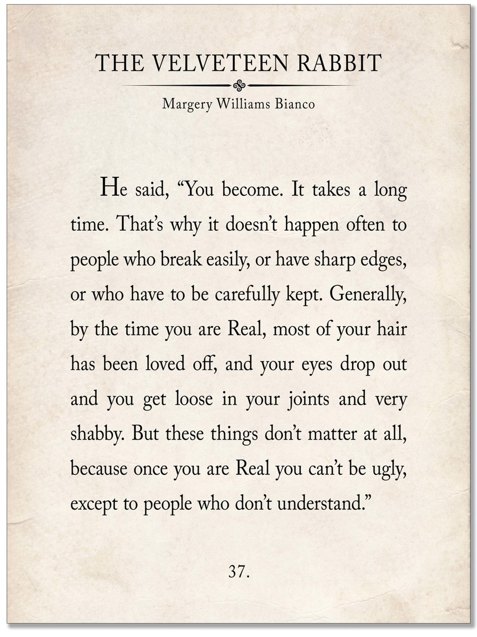 the velveteen rabbit vintage book page literary quote print fine