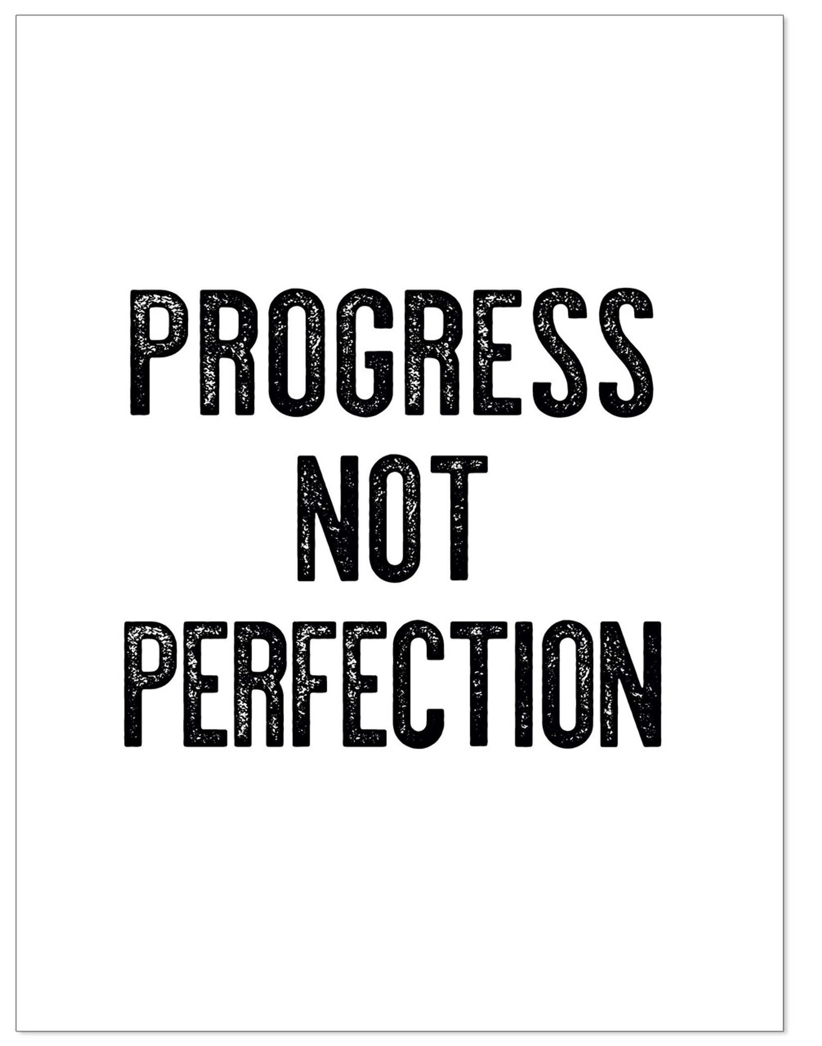 Progress Not Perfection - Letter Press Style Inspirational Quote Print.  Fine Art Paper, Laminated, or Framed. Multiple Sizes for Home, Office, or  ...