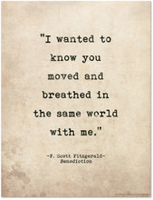 Romantic Quote Poster - Benediction by F. Scott Fitzgerald. Literary Quote Print. Fine Art Paper, Laminated, or Framed. Multiple Sizes Available for Home, Office, or School.