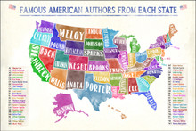 Most Famous American Authors by State Extra Large Watercolor Style Art Print. Multiple Sizes Available for Library, Office, or Classroom.