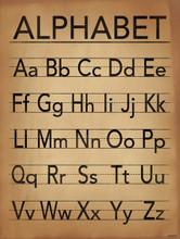 Alphabet Writing Poster For Home, Office or Classroom. Typography Art Print.
