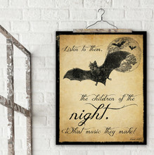 Children of the Night Dracula Literary Quote Print. Vintage Style Fine Art Paper, Laminated, or Framed. Bram Stoker Print Available in Multiple Sizes for Home, Office, or School.