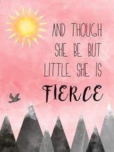 And Though She Be But Little Fine Art Print For Home or Nursery. William Shakespeare Literary Gift