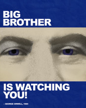 Big Brother is Watching You! - Nineteen Eighty Four, George Orwell Literary Quote Print. Fine Art Paper, Laminated, or Framed. Multiple Sizes Available for Home, Office, or School.