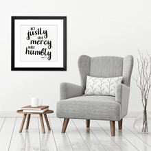 Act Justly - Spiritual & Inspirational Quote Print.  Bible Verse Poster. Fine Art Paper, Laminated, or Framed. Multiple Sizes Available for Home, Office, or School.