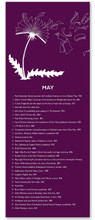 May Literary Event Calendar. Fine Art Paper or Laminated. Available for Home, Office, or School.