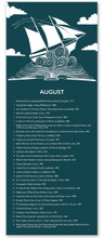 August Literary Event Calendar. Fine Art Paper or Laminated. Available for Home, Office, or School.