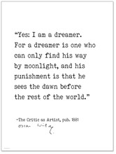 Yes: I Am a Dreamer - Oscar Wilde, The Critic as Artist, Author Signature  Literary Quote Canvas Art Print w/ Hanger for Home, Classroom, or Library