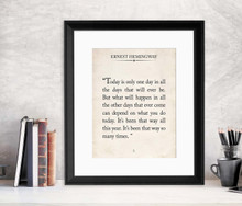 Ernest Hemingway Vintage Book Page Literary Quote Print. Fine Art Paper, Laminated, or Framed. Multiple Sizes for Home, Office, or School