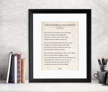 One Hundred Love Sonnets Vintage Book Page Literary Quote Print. Fine Art Paper, Laminated, or Framed. Multiple Sizes for Home, Office, or School
