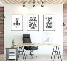 Edit or Regret It, Be Bold, Oxford Comma- LetterPress Style Inspirational Quote Print Set of 3. Fine Art Paper, Laminated, or Framed