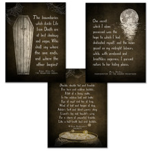 Frankenstein, Burial and Macbeth Literary Quote Set. Vintage Style Fine Art Paper, Laminated, or Framed. Edgar Allan Poe, Mary Shelley and William Shakespeare.  Multiple Sizes Available.