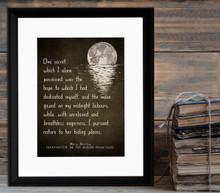 Frankenstein Literary Quote Print. Vintage Style Fine Art Paper, Laminated, or Framed. Mary Shelley Print Available in Multiple Sizes.