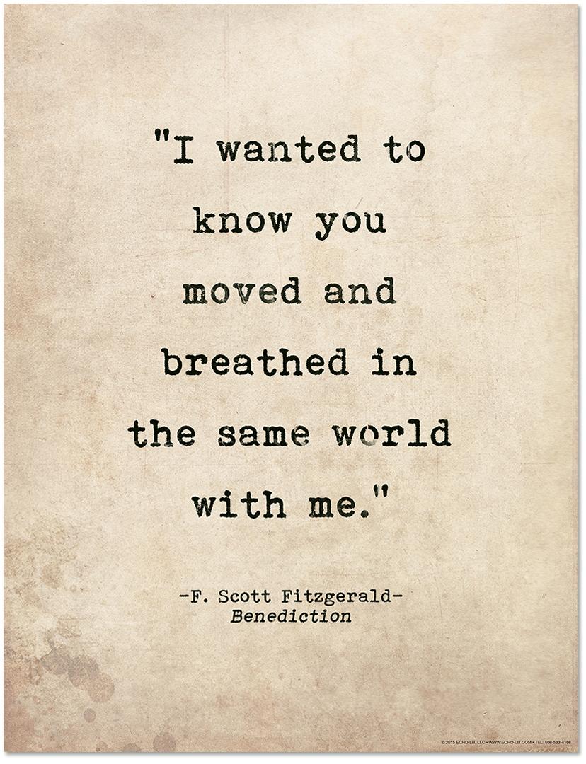 F Scott Fitzgerald Quotes Romantic Quote Poster   Benediction by F. Scott Fitzgerald  F Scott Fitzgerald Quotes