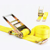 """features of flat hook 2"""" x 20ft 4500lb nylon Ratchet tie down, automatic quick release."""