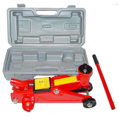 New 2 Ton Hydraulic Floor Jack On Wheels With Case Tool. Two ton capacity. This versatile jack has excellent stability and easy maneuverability. Includes custom blow mold case for easy storage and man...