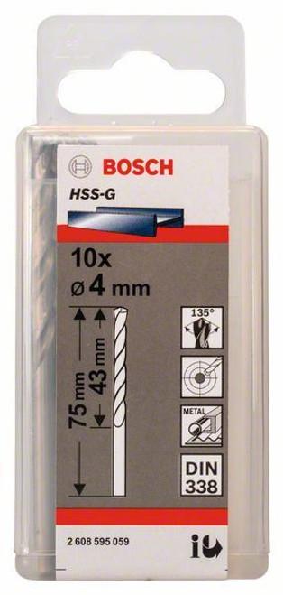 Bosch Metal Drill Bits HSS-G, DIN 338 4 x 43 x 75 mm