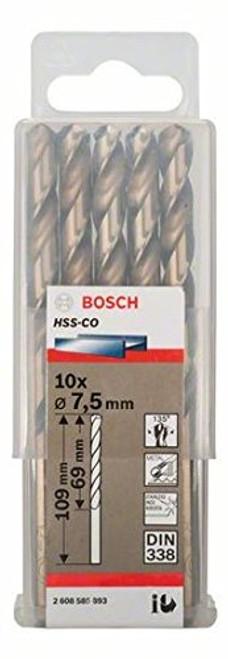Bosch Metal drill bits HSS-Co, Standard 7,5 x 69 x 109 mm   (10pcs)
