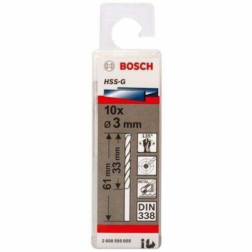 Bosch Metal drill bits HSS-G, DIN 338 3 x 33 x 61 mm         (10pcs)