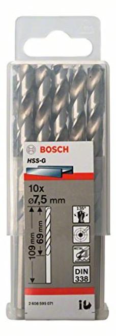 Bosch Metal drill bits HSS-G, DIN 338 7,5 x 69 x 109 mm    (10pcs)