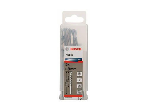 Bosch Metal drill bits HSS-G, DIN 338 8 x 75 x 117 mm       (5pcs)