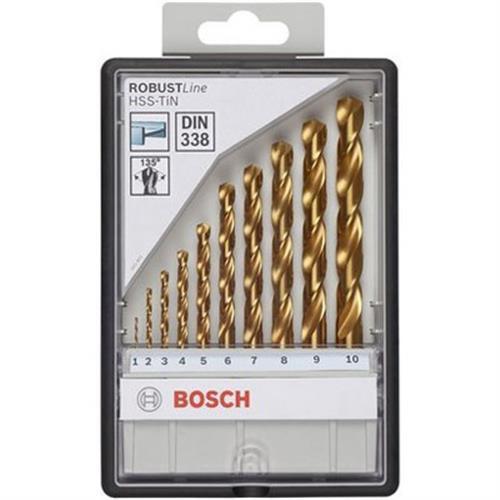 Bosch 10 Piece HSS-TiN, 135° Metal Drill Bit Set Includes: 1/2/3/4/5/6/7/8/9/10mm