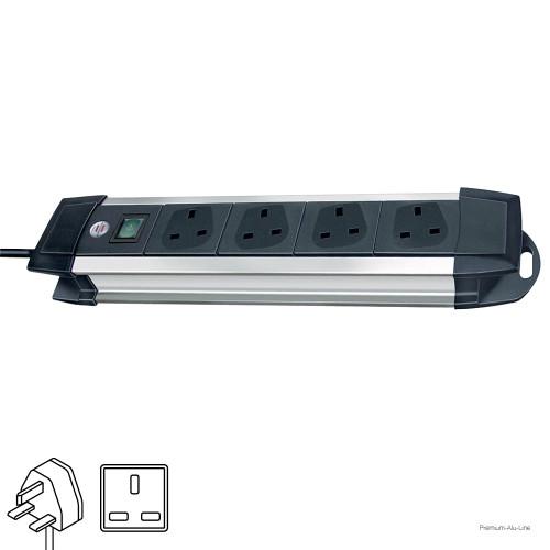 Brennenstuhl Premium-Alu-Line Extension Socket, British Standard, 1.8 m, 4 Sockets