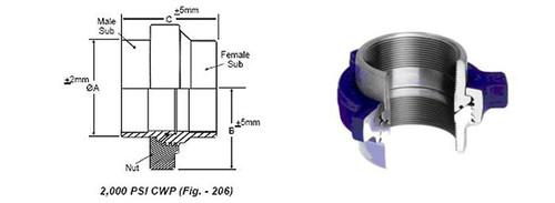 Orientflex fig 206 threaded 2000PSI Hammer Union