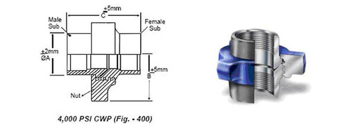 Orientflex figure 400 threaded 4000PSI Hammer Union