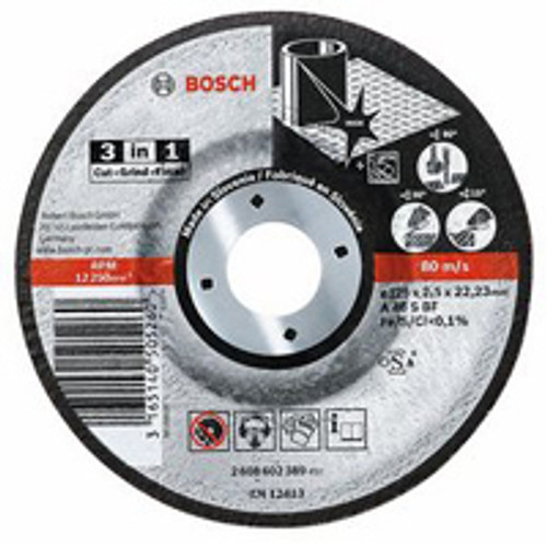 Bosch 3 in 1 metal cutting disc - Diameter : 115mm - Bore Size : 22.23mm - Thickness : 1mm