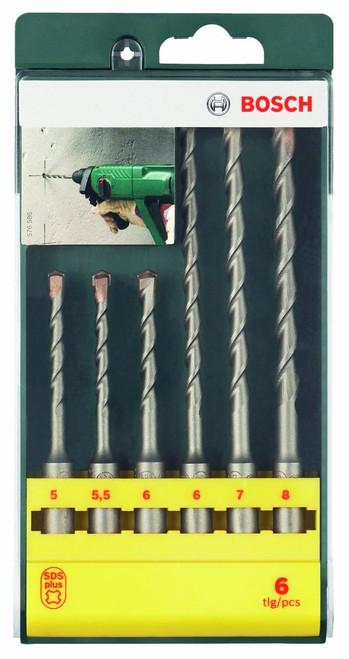 Bosch 6 Piece SDS Plus Drill Bit Set      Set contains 6 SDS-Plus S2 hammer drill bits     Diameters 5/5.5/6 x 110 mm, and diameter 6/7/8 x 160 mm     Comes in a plastic display box