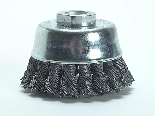 Knot Cup Brush 65 X M10 X Wire Diameter 65mm, height 50mm, M10 Recording Knotted wire thickness 0.35 mm, max. Rotational speed 12500 rpm / min aggressive material removal rate for extreme use very good cup brush with a long lifetime