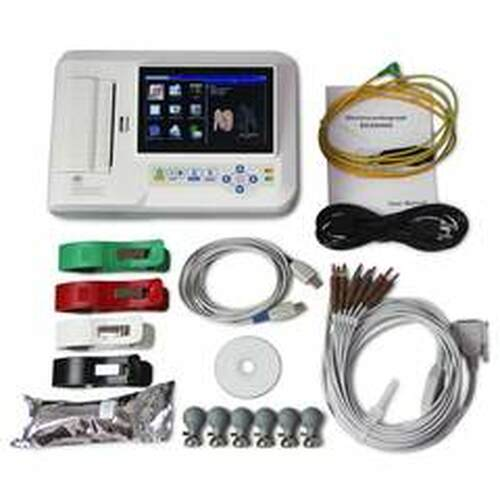 ECG600G Digital 6 Channel ECG EKG Machine Portable Electrocardiograph USB Touch screen Software CONTEC
