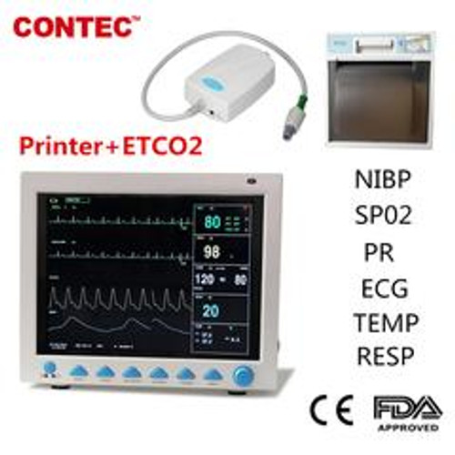 CMS8000 Vital Sign Patient Monitor 7 Parameters ICU CCU Free ETCO2 +Free Printer CONTEC