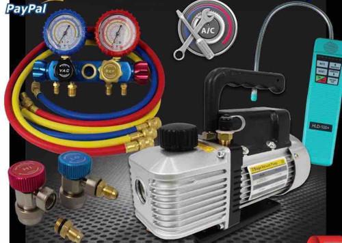 HVAC Installation Kit Refrigerant Charging, Leak Detection Kit, Vacuum Pump,Manifold