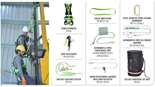 Fall arrest rescue with ratchet hauling system kit KARAM