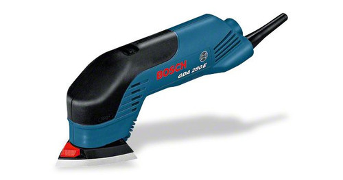 Bosch GDA 280E professional Delta sander. The most important data Rated power input 	280 W Orbital stroke rate 	13.000 – 19.000 opm Sanding plate across corners 	92 mm